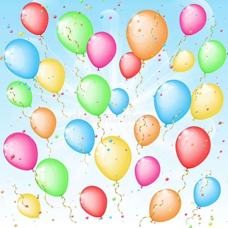 Pogodny tło z kolorów confetti i balonami royalty ilustracja