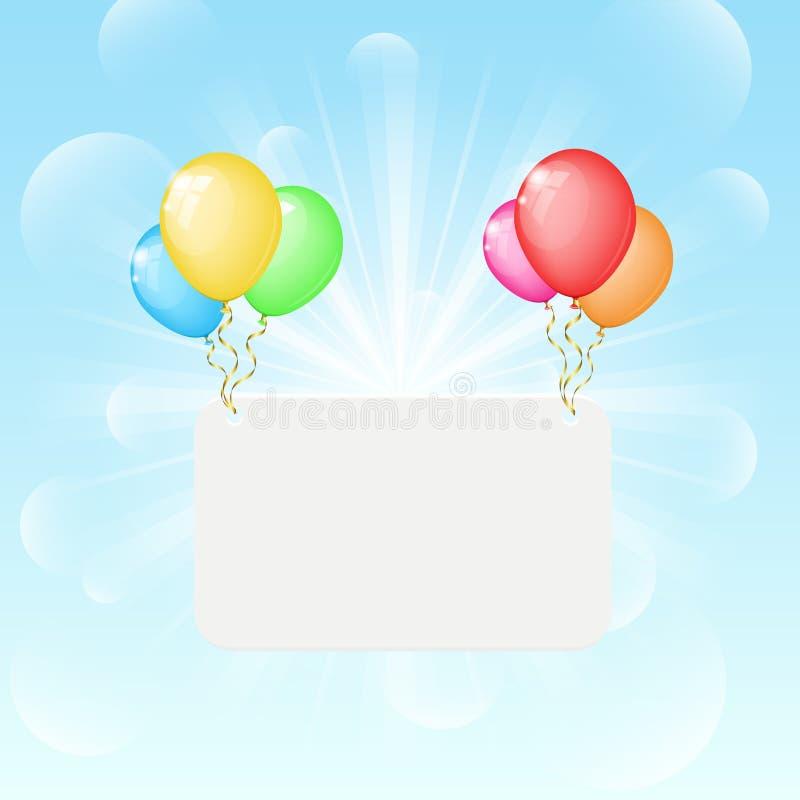 Pogodny tło z koloru sztandarem i balonami royalty ilustracja