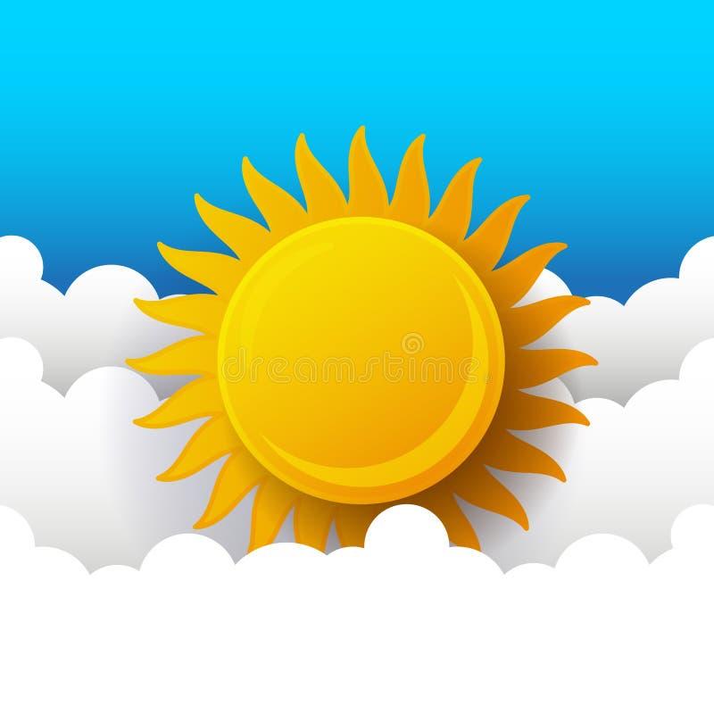 Pogodny t?o, niebieskie niebo z biel chmurami i s?o?ce, ilustracja wektor