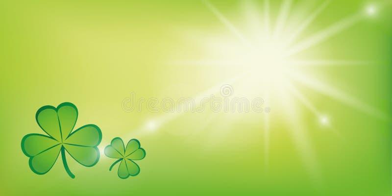 Pogodny zielony tło z shamrock koniczyną ilustracji