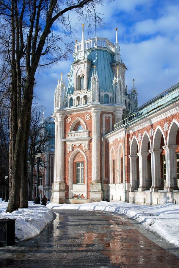 Pogodny zima dzień w Tsaritsyno parku w Moskwa Duży pałac obrazy royalty free
