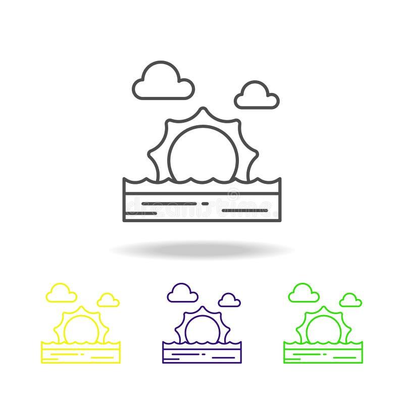 Pogodny zmierzch, gorący, denny, plażowy, barwił ikonę Może używać dla sieci, logo, mobilny app, UI, UX ilustracja wektor