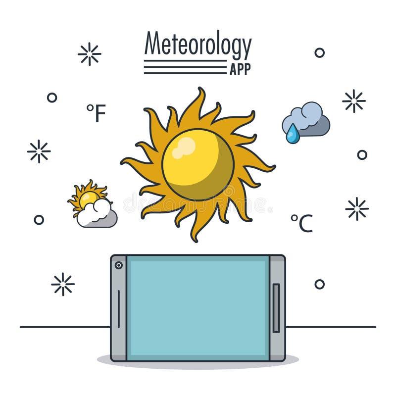 Pogodowa meteorologia app ilustracja wektor