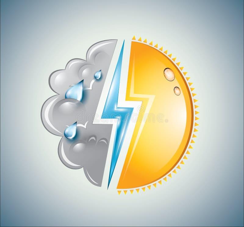 Pogodowa mikstura słońce, chmura i błyskawicowy rygiel, ilustracji