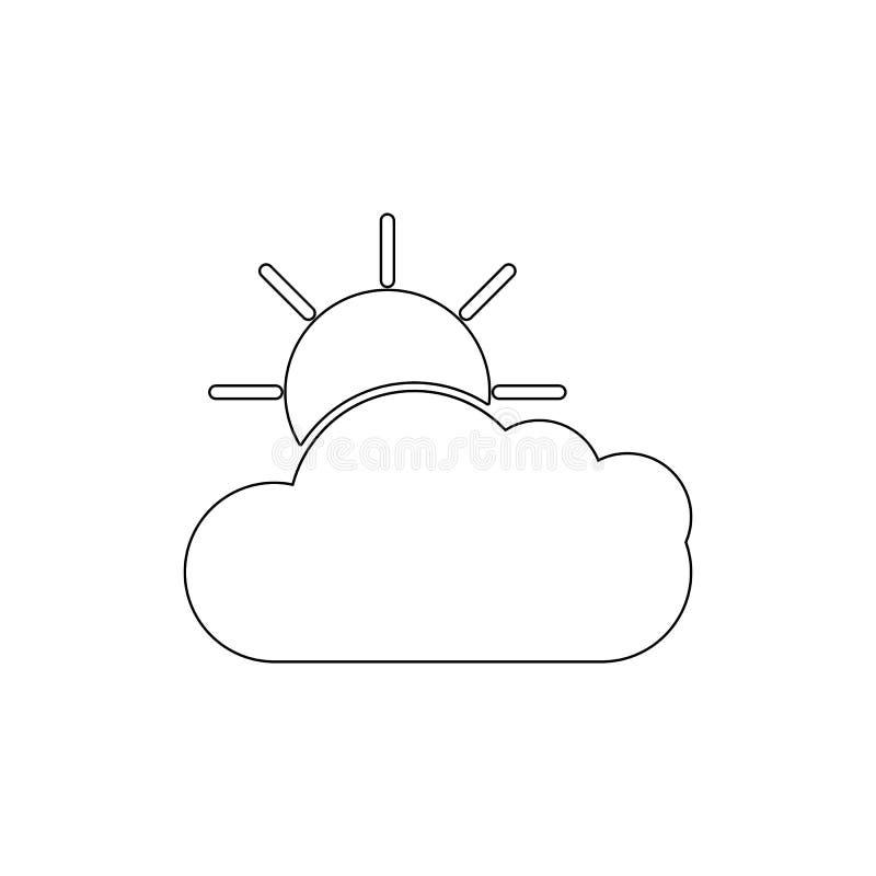Pogodowa obłoczna słońce konturu ikona Znaki i symbole mog? u?ywa? dla sieci, logo, mobilny app, UI, UX royalty ilustracja