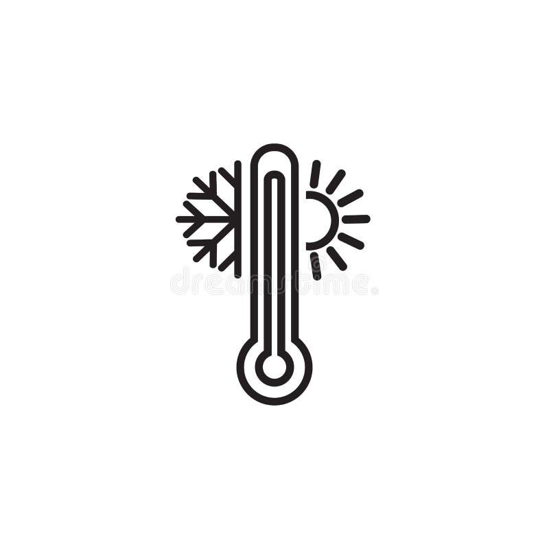 Pogodowa temperaturowa termometr linii ikona liniowy stylu znak dla mobilnego poj?cia i sie? projekta Termometr z pogodnym royalty ilustracja