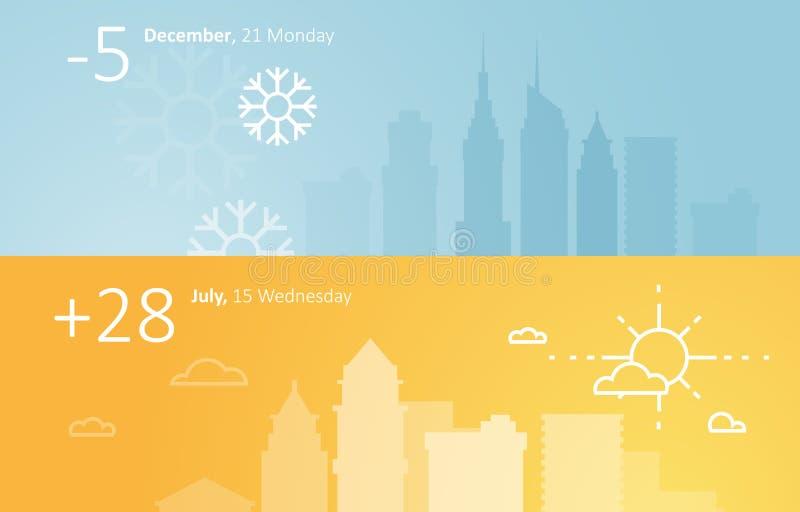 Pogodowa widgets szablonu zima i lato w mieście ilustracji
