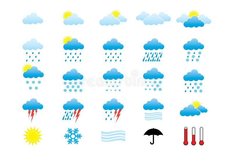 Pogodowe ikony ilustracja wektor