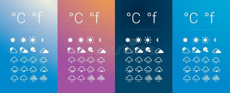 Pogodowe ikony Ustawiać ilustracji