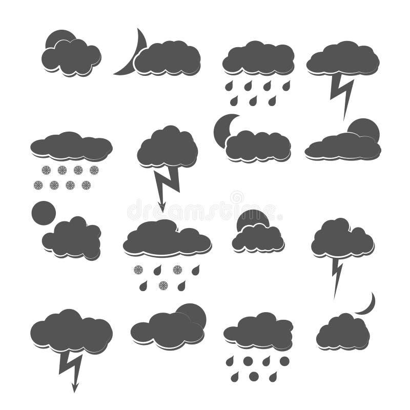 Pogodowe ikony, wektorowa ilustracja ilustracja wektor
