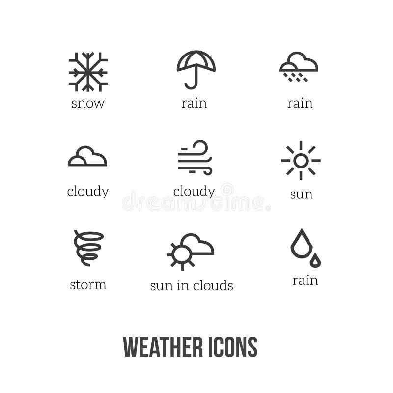 Pogodowe ikony z głównymi symbolami śnieg, deszcz, słońce, chmura, burza Doskonalić dla miejsc, sztandary, widgets, wisząca ozdob ilustracji