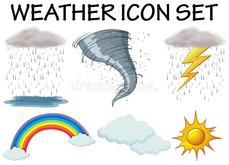 Pogodowe ikony z różnym klimatem ilustracji