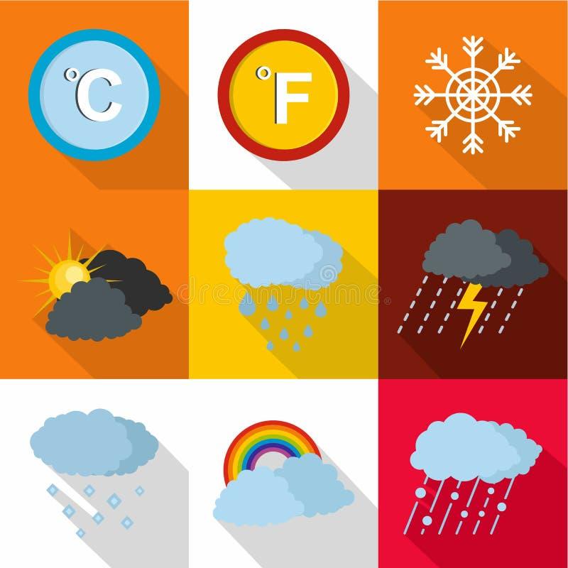 Pogodowe interwencyjne ikony ustawiać, mieszkanie styl ilustracji