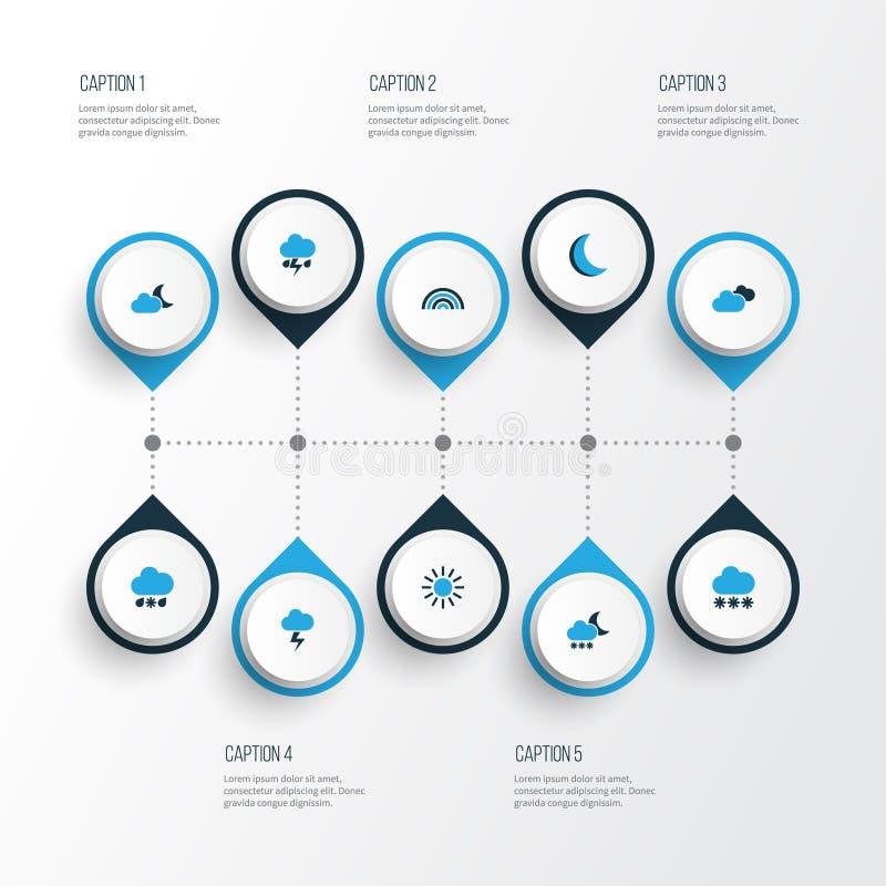 Pogodowe Kolorowe ikony Ustawiać Kolekcja bimber, błyskawica, łuk I Inni elementy, Także Zawiera symbole Tak jak ilustracja wektor