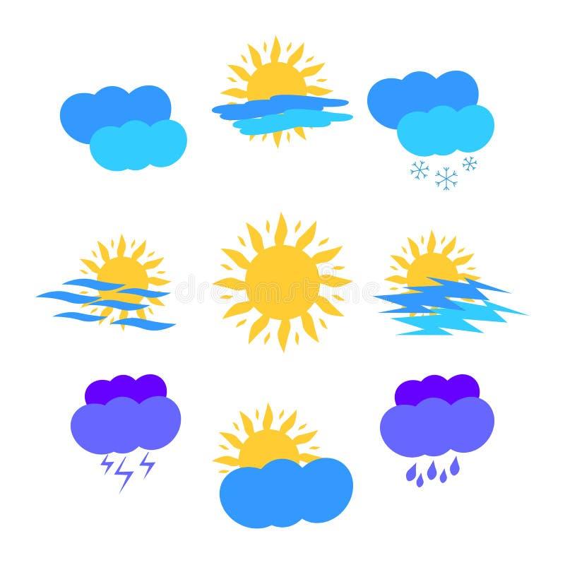 Pogodowe Kolorowe Płaskie ikony Słońce, chmury, deszcz, śnieg, burza ilustracji