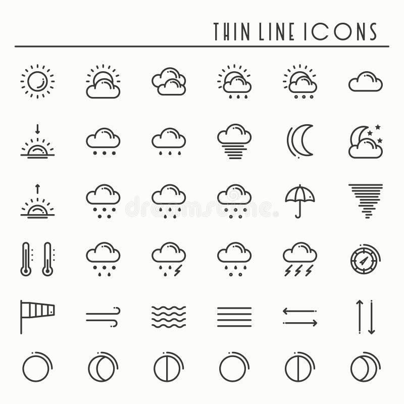 Pogodowe paczki linii ikony ustawiać meteorologia Prognoza pogody projekta modni elementy Szablon dla wiszącej ozdoby app, sieć i royalty ilustracja