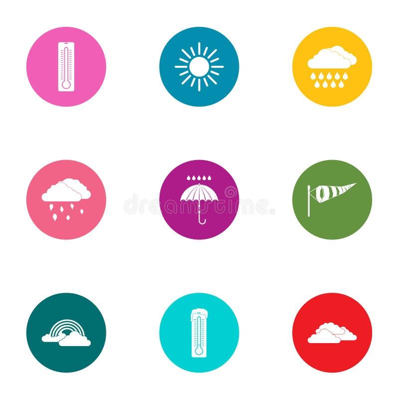 Pogodowe różnorodność ikony ustawiać, mieszkanie styl ilustracji
