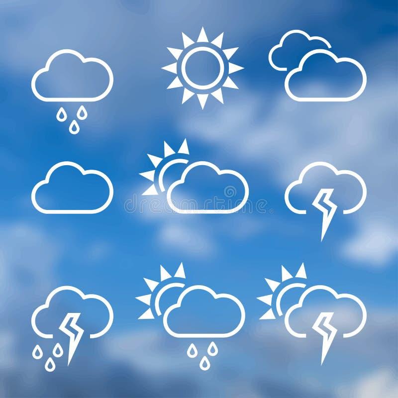 Pogodowe widgets szablonu ikony dla obliczać sieć royalty ilustracja