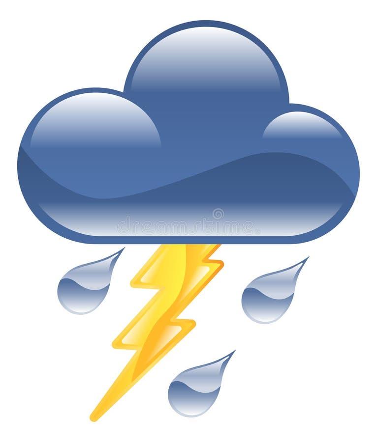 Pogodowego ikony clipart grzmotu burzy błyskawicowy illus ilustracja wektor