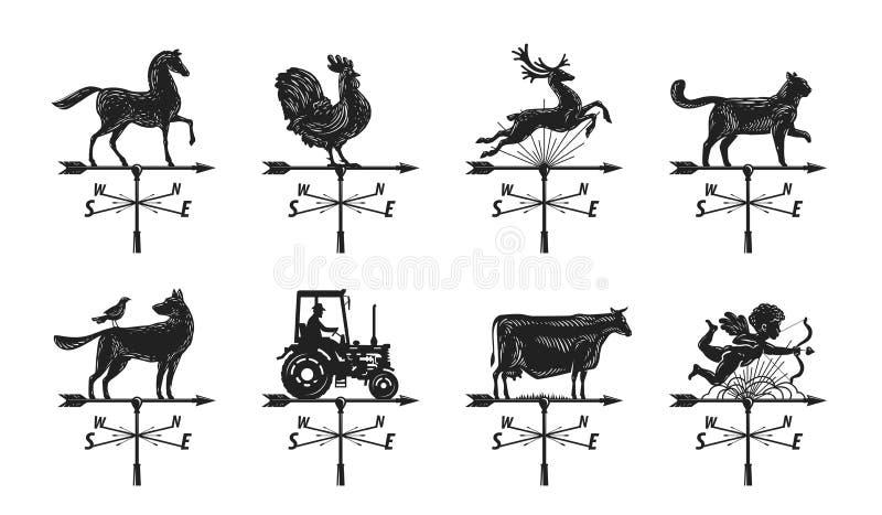 Pogodowego vane sylwetka, ustawia ikony Windvane, weathervane symbol lub logo, Rocznika wektoru ilustracja ilustracji