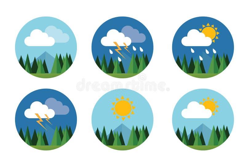 Pogodowej ikona wektoru prognozy nieba ustalonej płaskiej chmury pogodny grzmot ilustracji