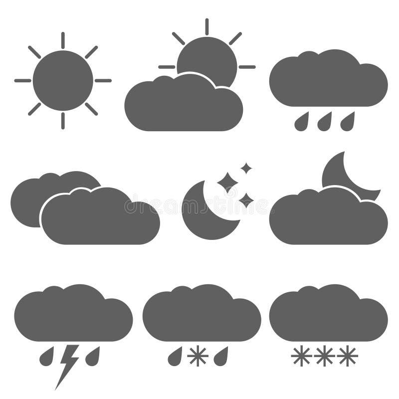 Pogodowi zjawiska i czas dzień ikony ustawiać ilustracji