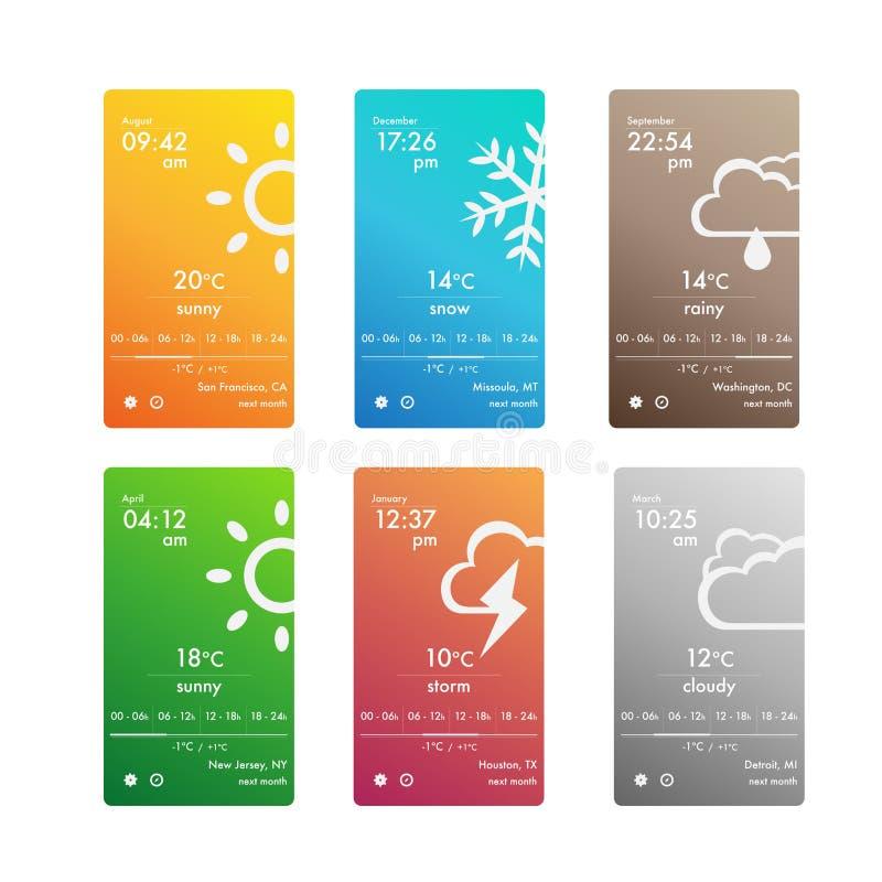 Pogodowy app ustalony interfejs użytkownika dla smartphone royalty ilustracja