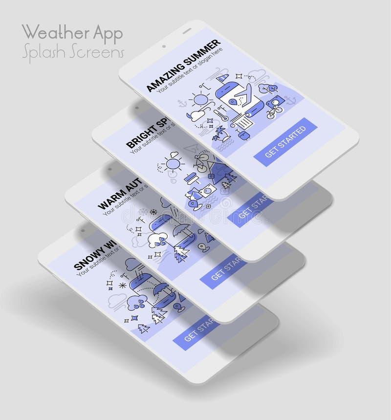 Pogodowy kreskowej ilustraci pluśnięcia app ekranu wiszącej ozdoby mockup ilustracji