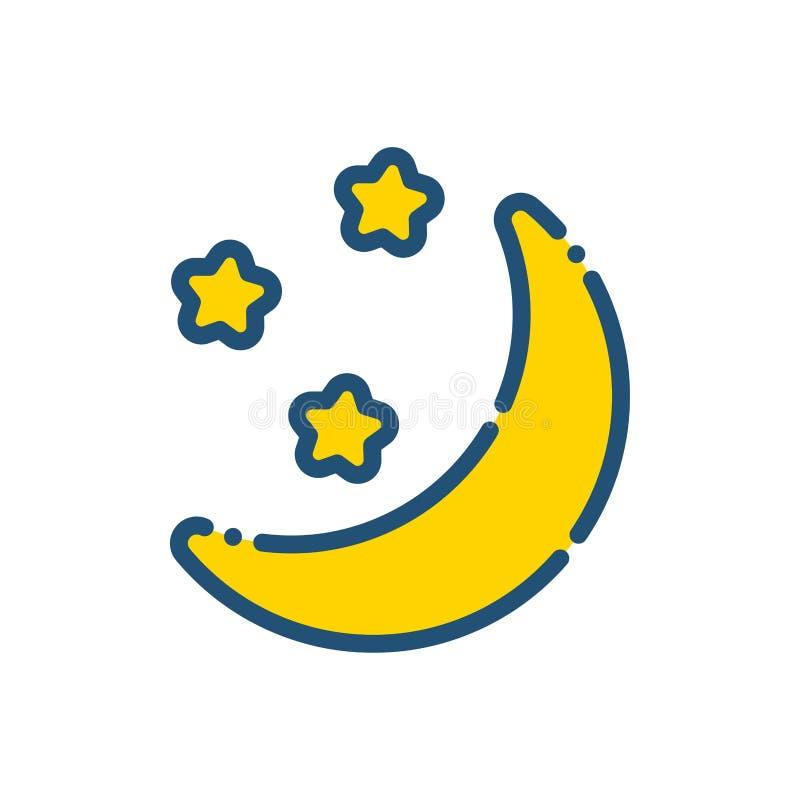 Pogodowy nocy księżyc ikony kontur ilustracji