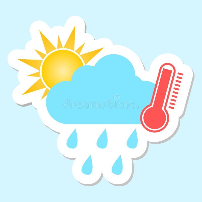 Pogodowy symbol gorący i podeszczowy ilustracja wektor