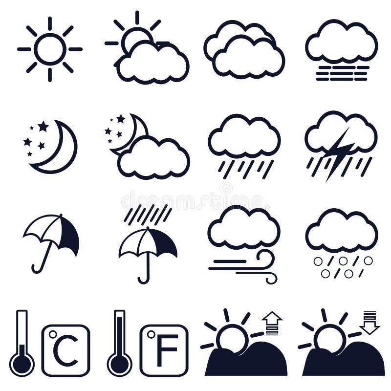 16 pogodowych ikon na białym tle ilustracja wektor