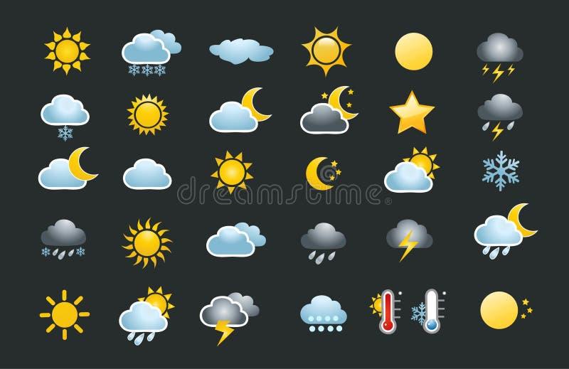 30 pogodowych ikon ustawiających royalty ilustracja