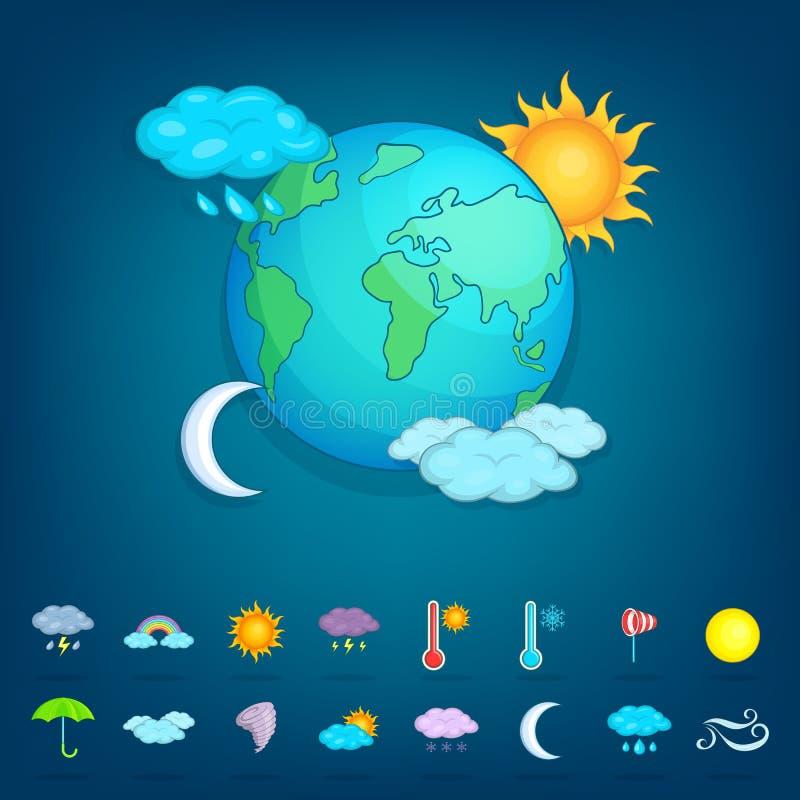 Pogodowych symboli/lów pojęcia planeta, kreskówka styl royalty ilustracja