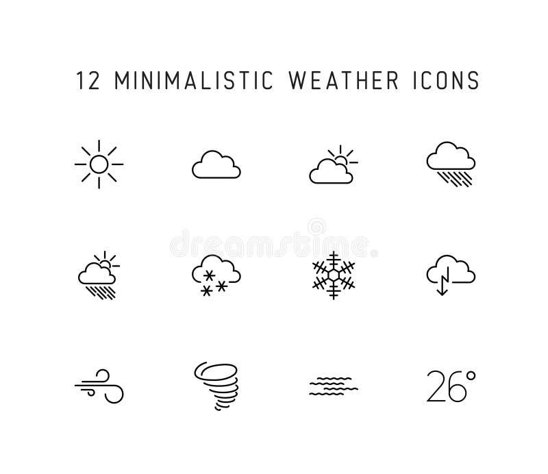 Pogody ikony cienki kreskowy set ilustracja wektor