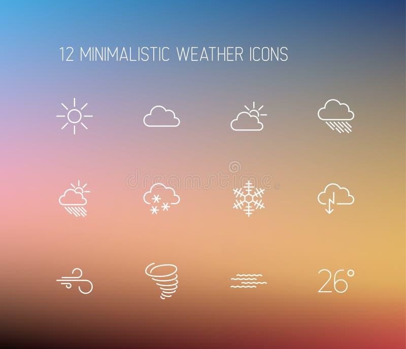 Pogody ikony cienki kreskowy set royalty ilustracja