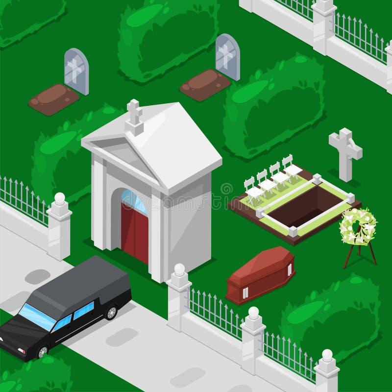 Pogrzeb i cmentarniana isometric wektorowa ilustracja Zawiera kościół, grób z krzyżem, nagrobek, trumnę i zabytek, royalty ilustracja