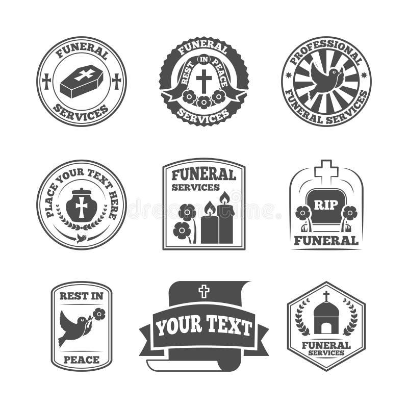 Pogrzeb przylepia etykietkę ikony ustawiać royalty ilustracja
