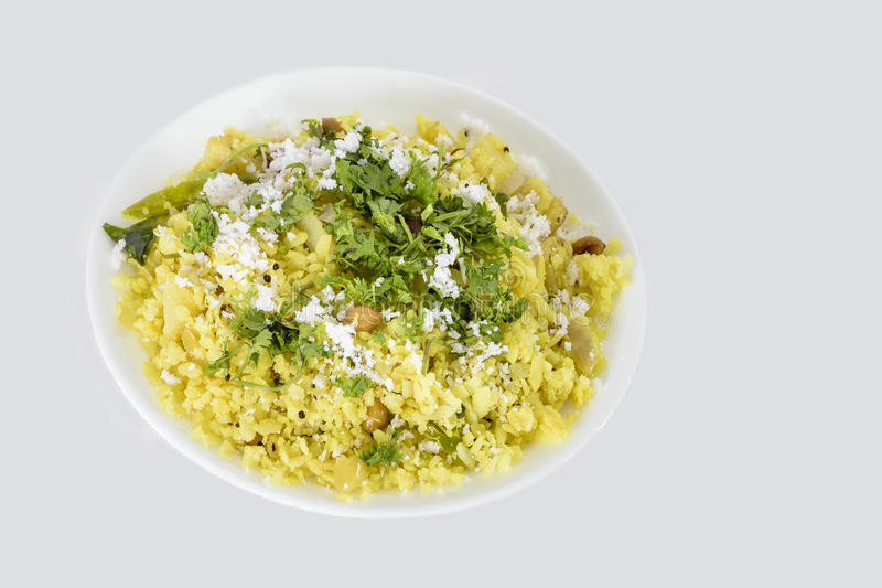 Poha ή pohe ινδικό πρόχειρο φαγητό στοκ εικόνα με δικαίωμα ελεύθερης χρήσης