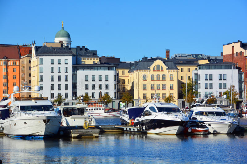 Pohjoisranta harbor. HELSINKI FINLAND 09 25 2015: Pohjoisranta is located in center and runs along northern harbor. On waterfront there are houses built in royalty free stock photo