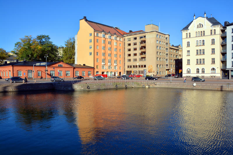 Pohjoisranta houses. HELSINKI FINLAND 09 25 2015: Pohjoisranta is located in center and runs along northern harbor. On waterfront there are houses built in royalty free stock images