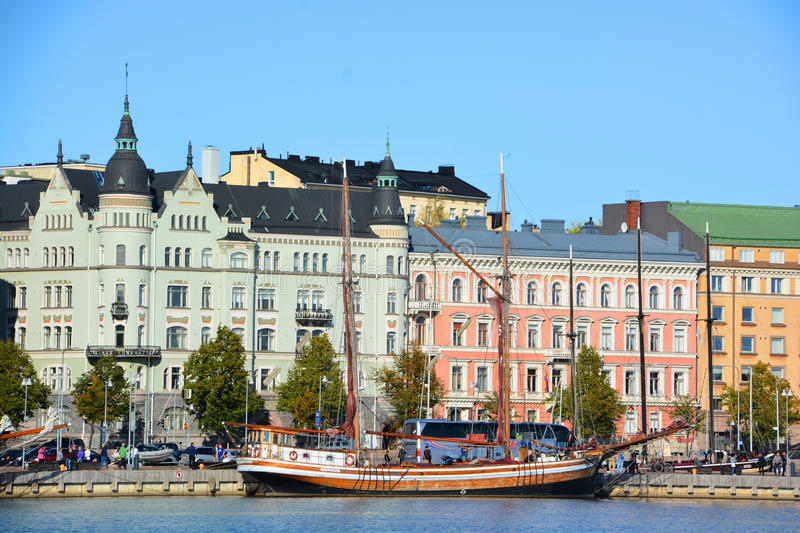 Pohjoisranta quarter. HELSINKI FINLAND 09 25 2015: Pohjoisranta is located in center and runs along northern harbor. On waterfront there are houses built in royalty free stock image