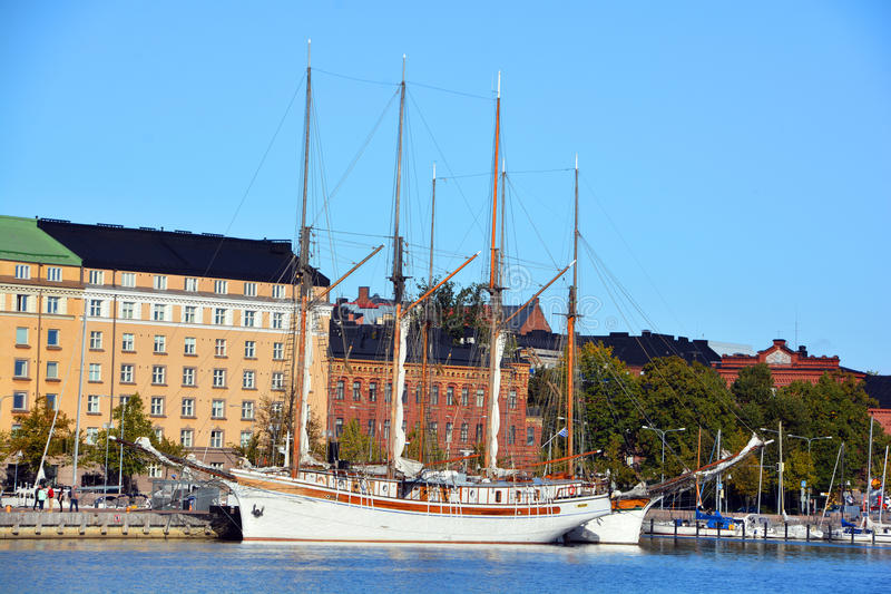 Pohjoisranta quarter. HELSINKI FINLAND 09 25 2015: Pohjoisranta is located in center and runs along northern harbor. On waterfront there are houses built in royalty free stock photo
