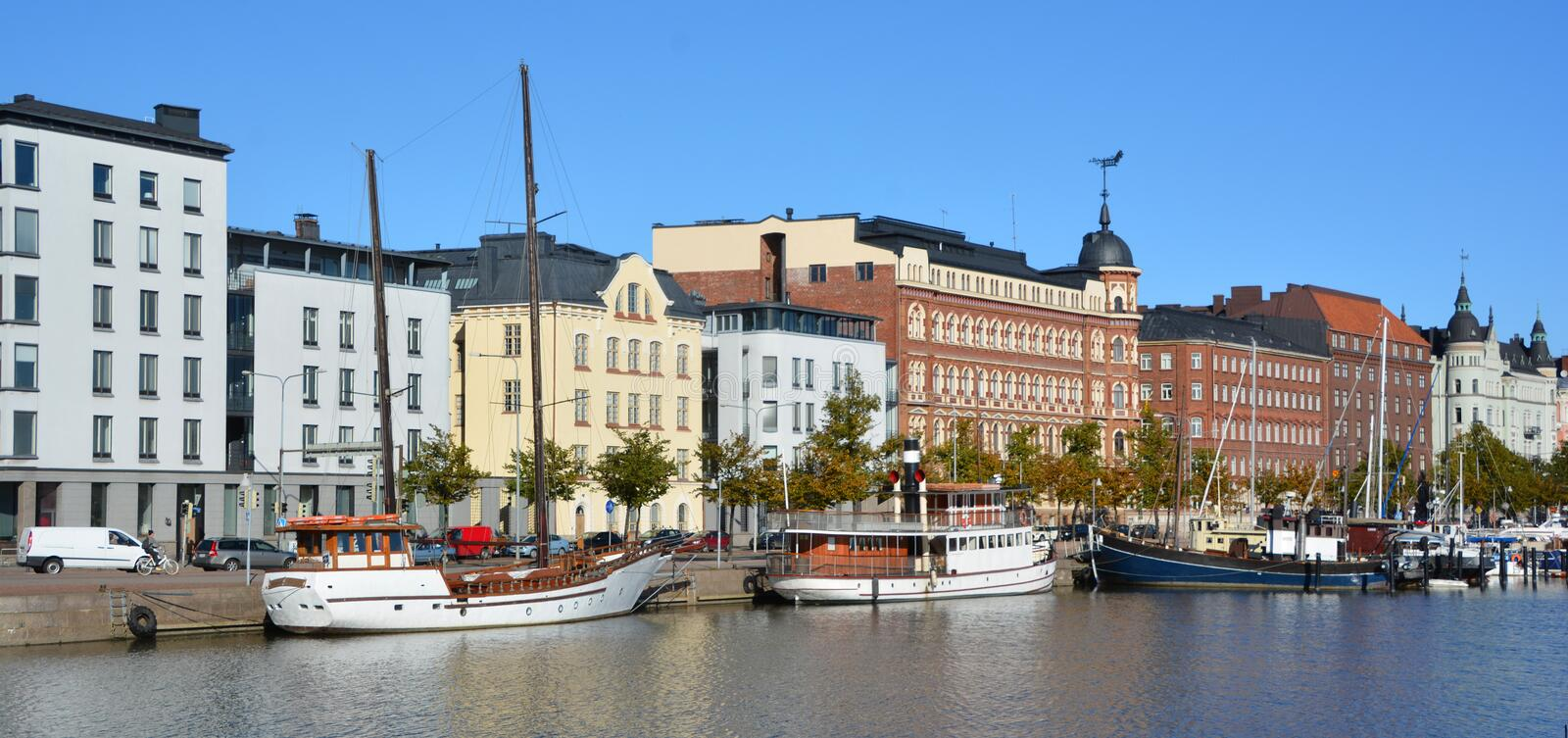 Pohjoisranta quarter. HELSINKI FINLAND 09 25 2015: Pohjoisranta is located in center and runs along northern harbor. On waterfront there are houses built in royalty free stock photos