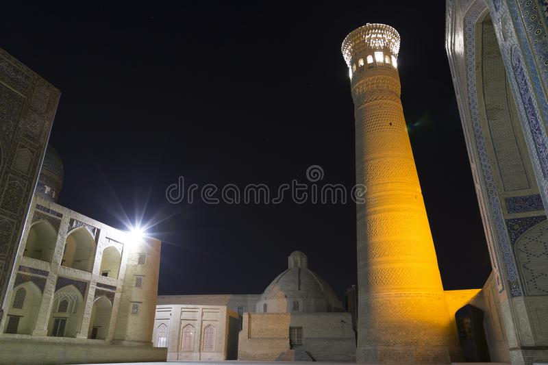 Poi Klyan Complex in Bukhara, Uzbekistan. Kalyan Mosque and Kalyan or Kalon Minor. Bukhara is World Heritage Site by UNESCO. royalty free stock image