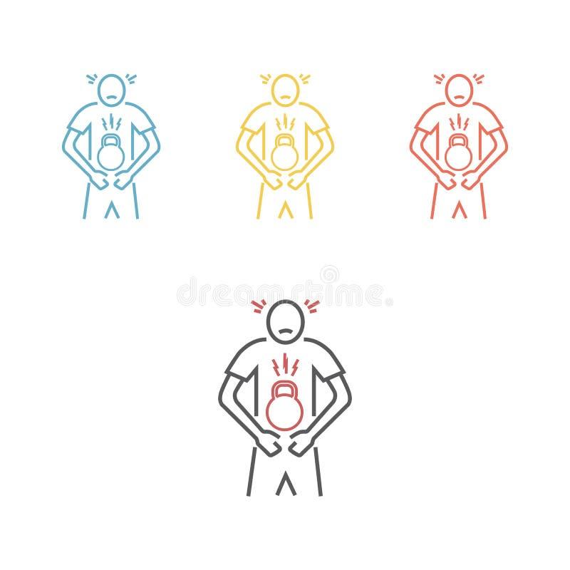 Poids dans l'abdomen illustration stock