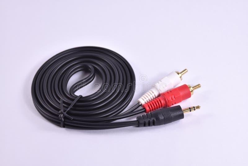 Poids du commerce audio de câble et de cric photo stock