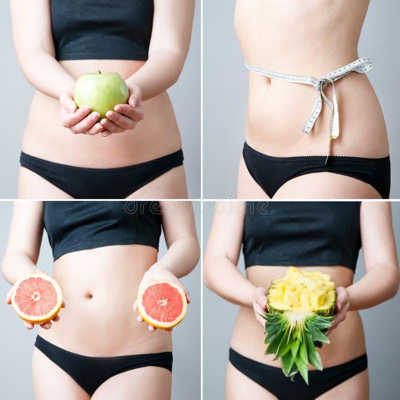 Poids excessif des femmes avec le fruit photographie stock