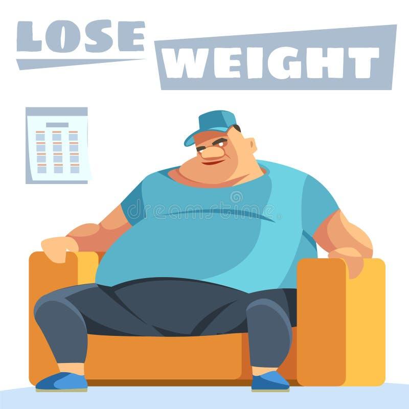 Poids perdu Le repas malsain conduit à l'obésité Concept régulièrement revu par une personne Concept de soins de santé illustration libre de droits