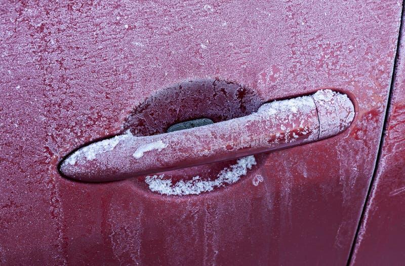 Poignée congelée de voiture image libre de droits