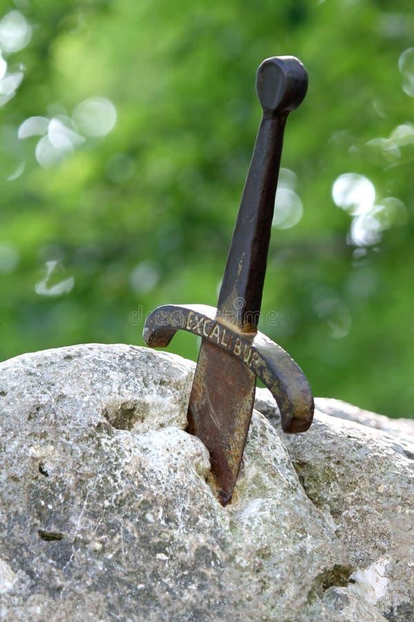 Poignée de l'épée de l'excalibur photo libre de droits